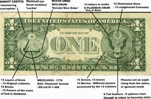 Freemason symbols on one dollar note